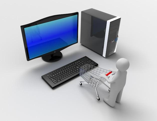 3d koncepcja komputera stacjonarnego z wózkiem i mężczyzną