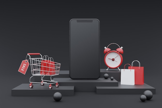 3d koncepcja promocji zakupów online z makietą smartfona. na ciemnym tle. renderowanie 3d.