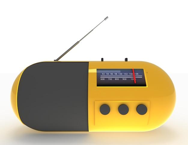 3d koncepcja radia na białym tle