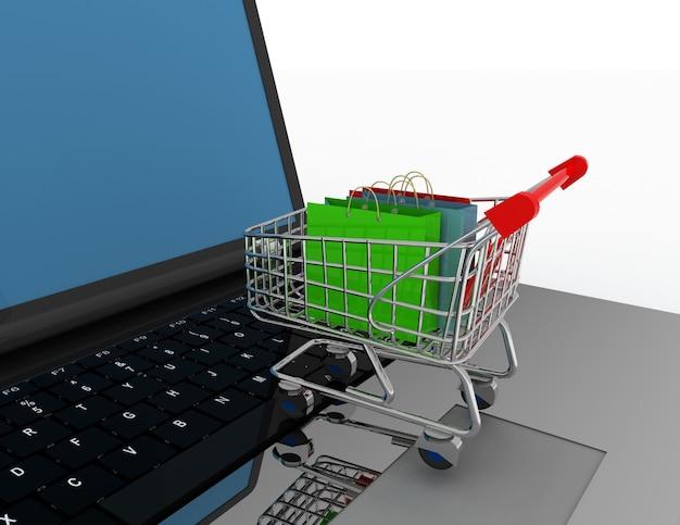 3d koncepcja zakupy online. ilustracja na białym tle