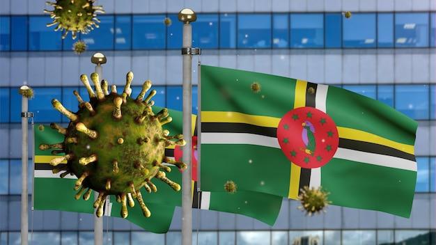 3d, koronawirus grypy unoszący się nad flagą dominikany z nowoczesnym wieżowcem. dominika macha banerem z pandemią koncepcji zakażenia wirusem covid19. prawdziwy chorąży tekstury tkaniny