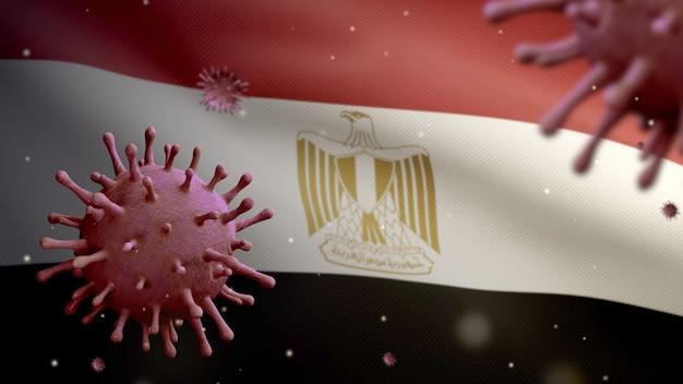 3d, koronawirus grypy unoszący się nad flagą egipską, patogen atakujący drogi oddechowe. egipt transparent macha z pandemią koncepcji zakażenia wirusem covid19. prawdziwy chorąży tekstury tkaniny