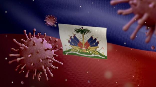 3d, koronawirus grypy unoszący się nad flagą haiti, patogen atakujący drogi oddechowe. baner haiti macha z pandemią koncepcji zakażenia wirusem covid19. prawdziwy chorąży tekstury tkaniny