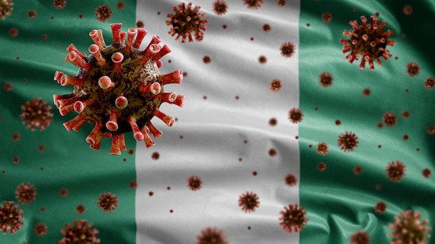 3d, koronawirus grypy unoszący się nad flagą nigerii, patogen atakujący drogi oddechowe. szablon nigerii machający koncepcją pandemii zakażenia wirusem covid19.