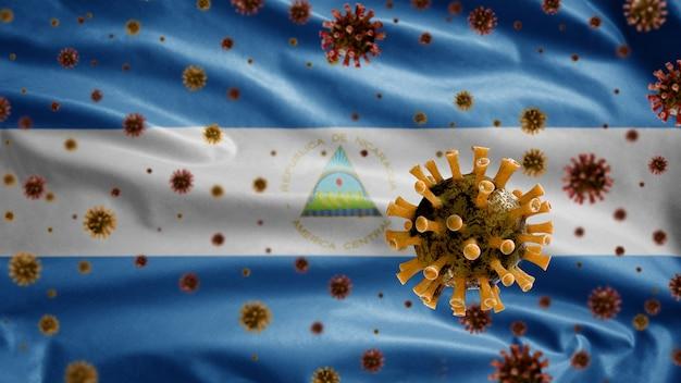3d, koronawirus grypy unoszący się nad flagą nikaragui, patogen atakujący drogi oddechowe. szablon nikaragui machający koncepcją pandemii zakażenia wirusem covid 19. prawdziwy chorągiew tekstury tkaniny