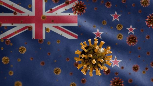 3d, koronawirus grypy unoszący się nad flagą nowej zelandii, patogen atakujący drogi oddechowe. szablon z nowej zelandii machający koncepcją pandemii zakażenia wirusem covid19