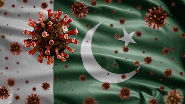 3d, koronawirus grypy unoszący się nad flagą pakistanu, patogen atakujący drogi oddechowe. szablon pakistański machający koncepcją pandemii zakażenia wirusem covid 19.