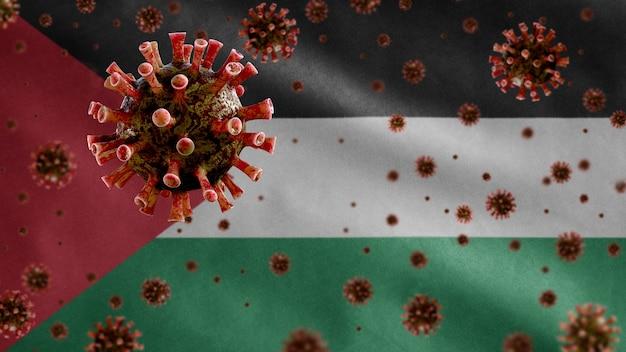 3d, koronawirus grypy unoszący się nad flagą palestyny, patogen atakujący drogi oddechowe. szablon palestyński machający koncepcją pandemii infekcji wirusem covid19