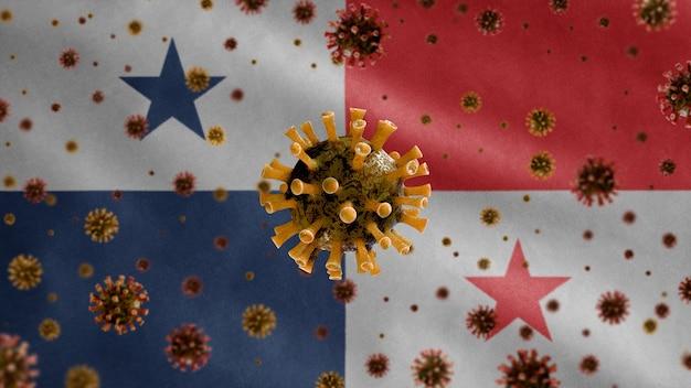 3d, koronawirus grypy unoszący się nad flagą panamy, patogen atakujący drogi oddechowe. szablon panamy machający z koncepcją pandemii zakażenia wirusem covid19.