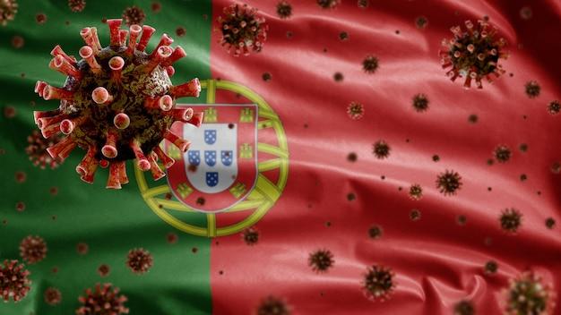3d, koronawirus grypy unoszący się nad flagą portugalii, patogen atakujący drogi oddechowe. szablon portugalii machający koncepcją pandemii zakażenia wirusem covid19