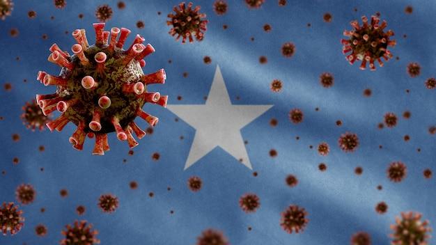 3d, koronawirus grypy unoszący się nad flagą somalii, patogen atakujący drogi oddechowe. somalijski szablon machający z koncepcją pandemii infekcji wirusem covid19.