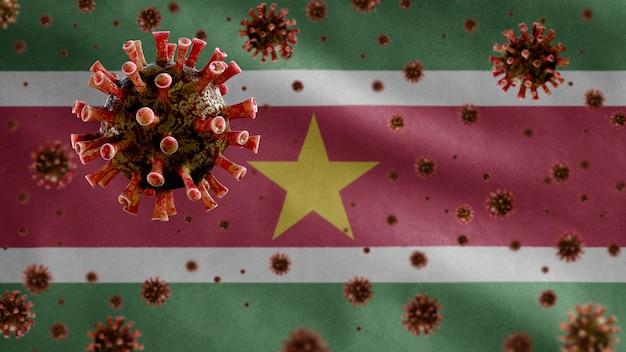 3d, koronawirus grypy unoszący się nad flagą surinamu, patogen atakujący drogi oddechowe. szablon surinamu machający koncepcją pandemii infekcji wirusem covid19