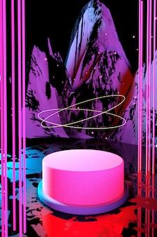 3d kosmiczny różowy wyświetlacz podium neon lekki cokół na jasnym abstrakcyjnym tle świecące scena ciemna przestrzeń widmo ultrafioletowe laserowa rzeczywistość wirtualna pionowy modny render 3d