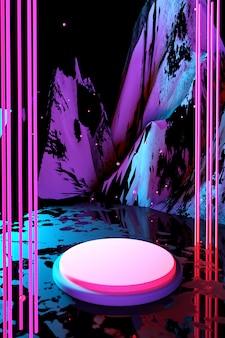 3d kosmiczny wyświetlacz podium różowy niebieski neon światła cokół na abstrakcyjnym tle świecące scena ciemna przestrzeń widmo ultrafioletowe laserowa rzeczywistość wirtualna pionowy modny render 3d
