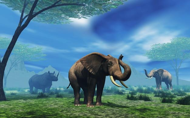 3d krajobraz z słoniami i nosorożec