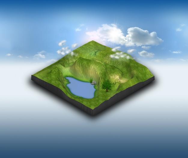 3d krajobrazowy teren z stawem na niebieskim niebie
