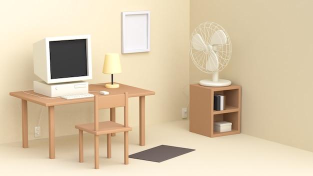 3d kremowego pracującego pokoju stołu komputerowy fan wiele przedmiotów kreskówki styl