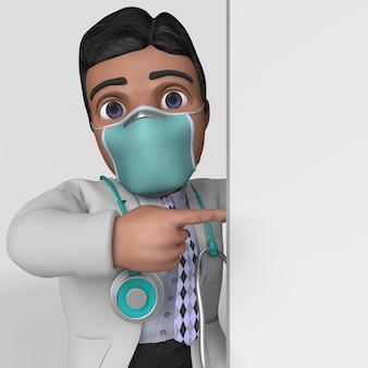 3d kreskówka lekarz postać w masce