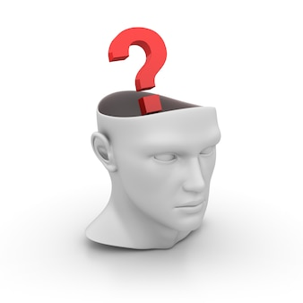 3d kreskówka ludzka głowa ze znakiem zapytania