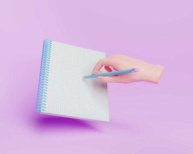 3d kreskówka ręka pisania w zeszycie