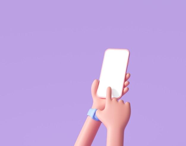 3d kreskówka ręka trzyma smartphone na białym tle na fioletowo
