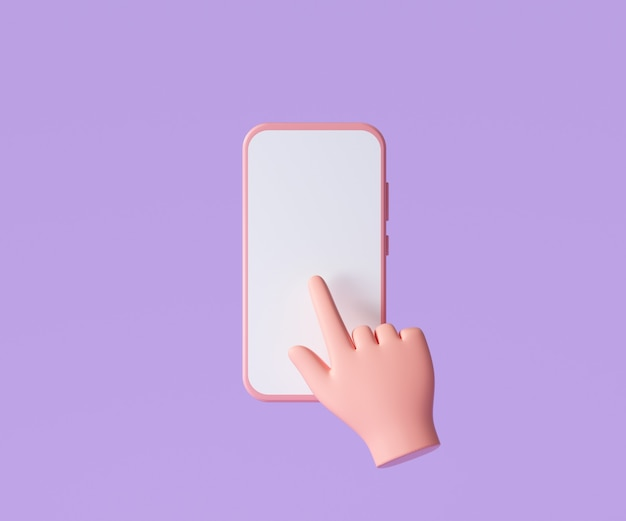 3d kreskówka ręka trzyma smartphone na białym tle na fioletowym tle, ręcznie przy użyciu makieta telefonu komórkowego. ilustracja renderowania 3d