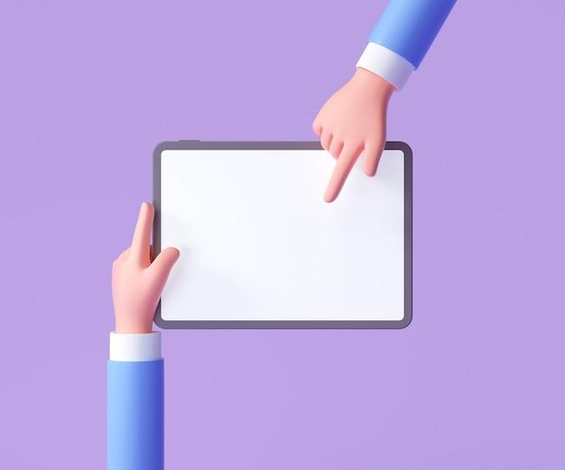 3d kreskówka ręka trzyma tablet na białym tle na fioletowym tle, ręcznie za pomocą makieta tabletu. ilustracja renderowania 3d