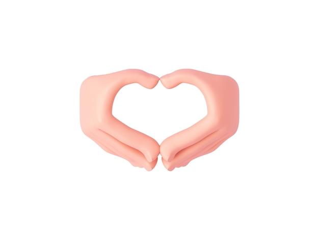 3d kreskówkowe dłonie wykonują gest serca z otwartymi palcami z tyłu dłoni lub okazują miłość