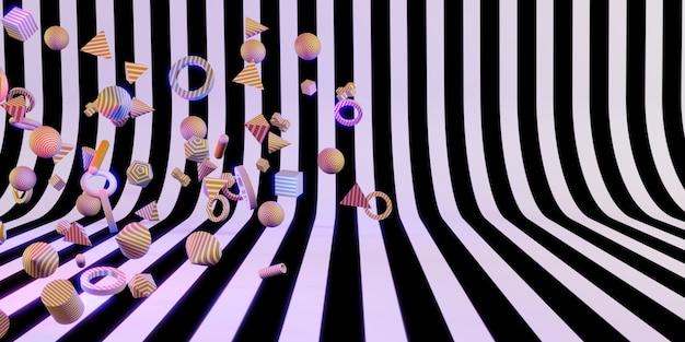 3d kształty geometryczne zabawa i kolorowe tła ilustracja 3d