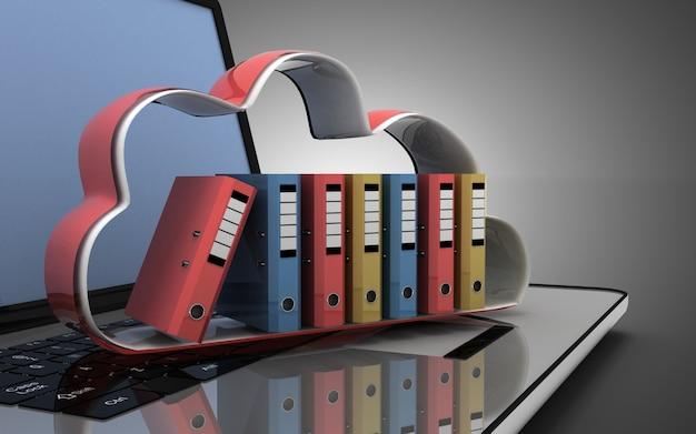 3d laptop chmura i foldery. ilustracja 3d