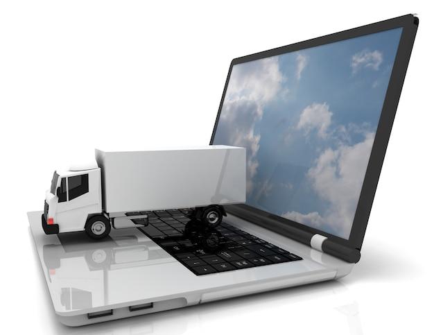 3d laptop i ciężarówka.ilustracja 3d