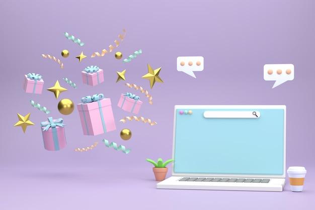 3d. laptop na pudełka prezentowe i złote kule obchody bożego narodzenia na fioletowym tle.
