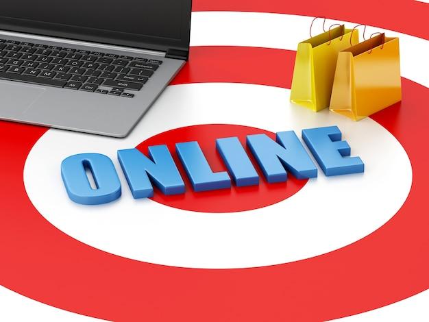 3d laptop pc i torby na zakupy na cel. koncepcja e-commerce