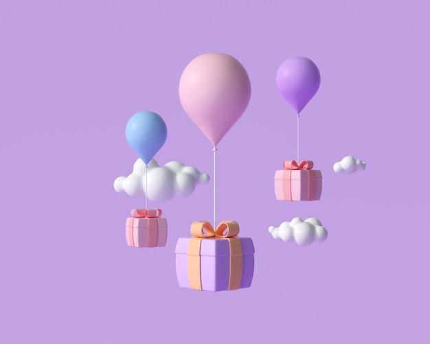 3d latające pudełko upominkowe z balonami, zakupy online, powitanie i koncepcja świętowania. ilustracja renderowania 3d