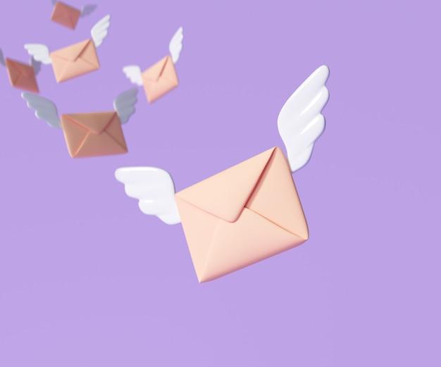 3d latające skrzydła koperty, powiadomienia o przychodzącej poczcie, biuletyn i koncepcja e-maili online. ilustracja renderowania 3d
