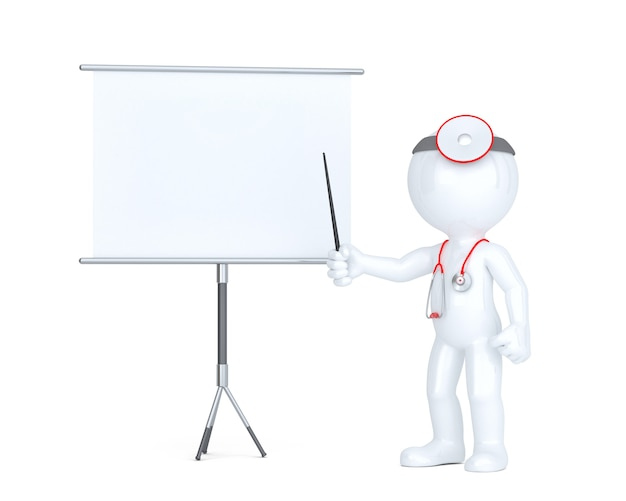 3d lekarka z białą deską. koncepcja prezentacji. odosobniony. zawiera ścieżkę przycinającą