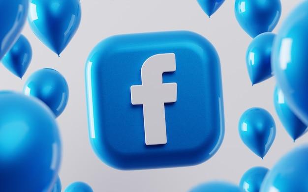 3d logo facebook z błyszczącymi balonami