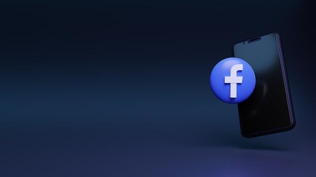 3d logo facebooka z pływającym telefonem komórkowym