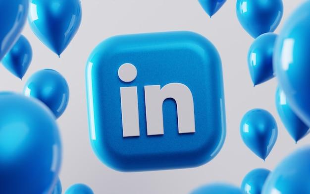 3d logo linkedin z błyszczącymi balonami