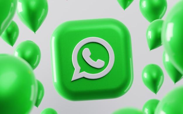 3d logo whatsapp z błyszczącymi balonami