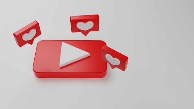 3d logo youtube ikona tło kopia przestrzeń