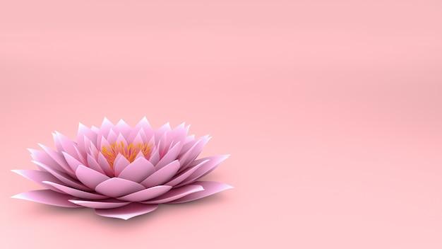 3d lotosowy kwiat na menchii ścianie