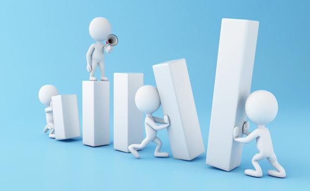 3d ludzie biznesu pracuje wpólnie
