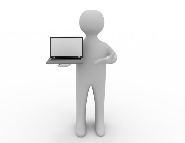 3d ludzie - mężczyzna, osoba z laptopem