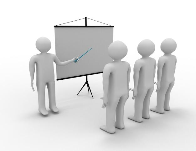 3d ludzie - mężczyźni, osoba prezentująca na wykresie finansowym. przywództwo i zespół.