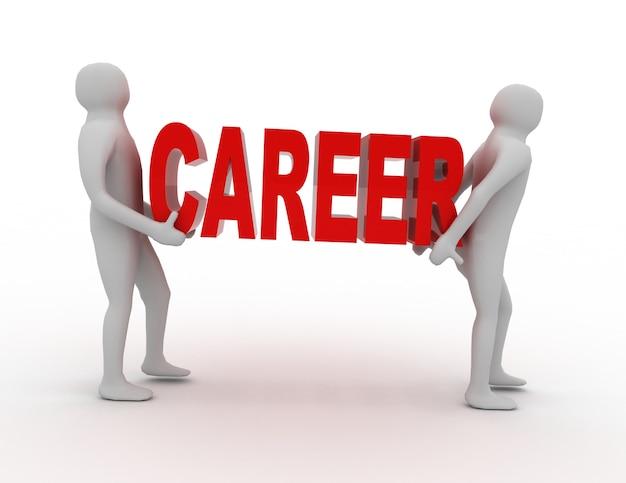 3d ludzie noszą słowo kariera