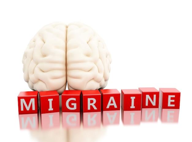 3d ludzki mózg z migreny słowem w sześcianach