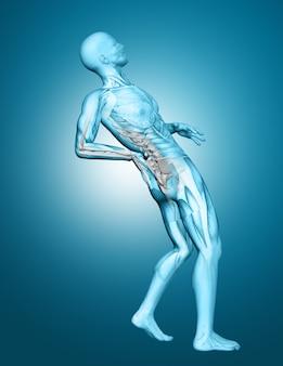 3D męska medyczna postać z kręgosłupem podkreślającym z bólem