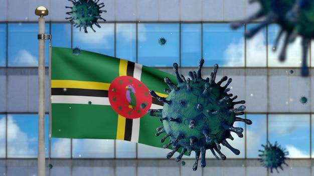 3d, macha flagą dominikany z nowoczesnym wieżowcem i koncepcją ncov coronavirus 2019. azjatycka epidemia na dominice, koronawirusy grypy jako niebezpieczne przypadki szczepu grypy jako pandemia. wirus covid19