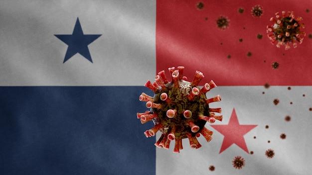 3d, machająca flaga panamy i koncepcja coronavirus 2019 ncov. azjatycka epidemia w panamie, koronawirusy grypy jako groźne przypadki szczepów grypy jako pandemia. wirus mikroskopowy covid19